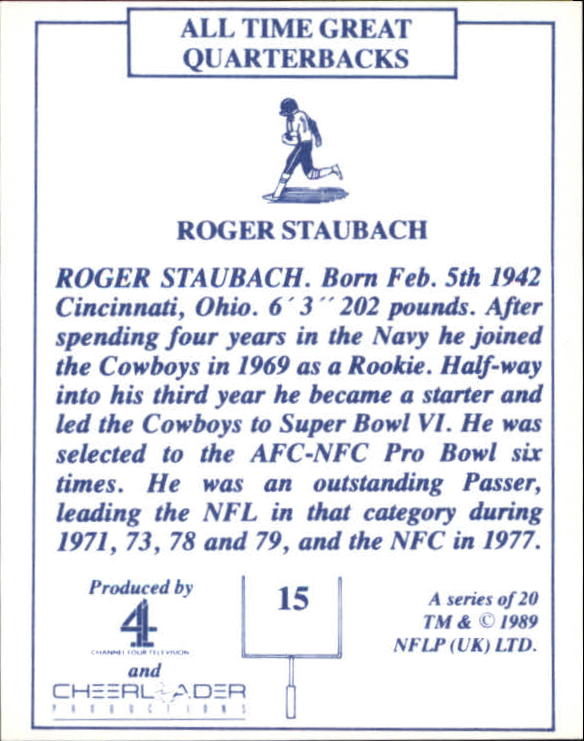 1989 TV-4 NFL Quarterbacks #15 Roger Staubach back image
