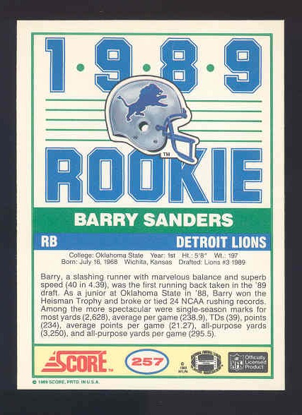 1989 Score #257 Barry Sanders RC back image