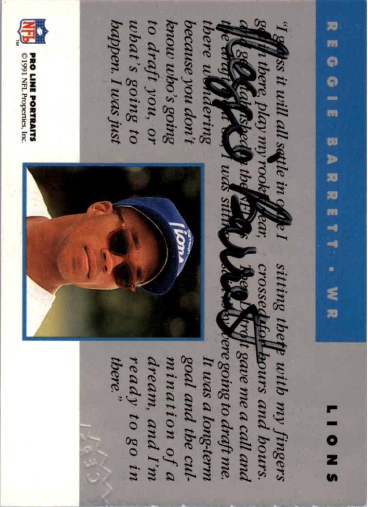 1991 Pro Line Portraits Autographs #14 Reggie Barrett