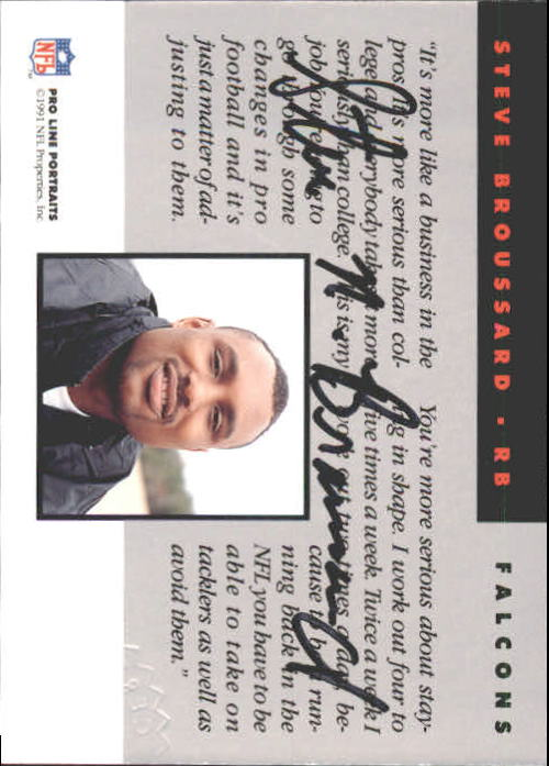 1991 Pro Line Portraits Autographs #30 Steve Broussard back image