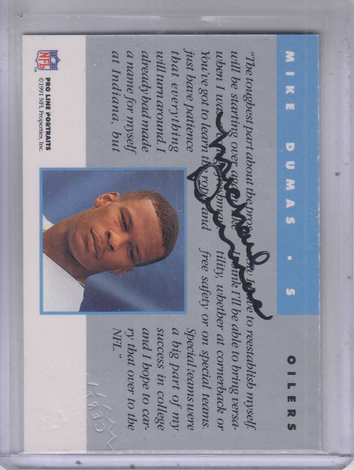 1991 Pro Line Portraits Autographs #62 Mike Dumas back image