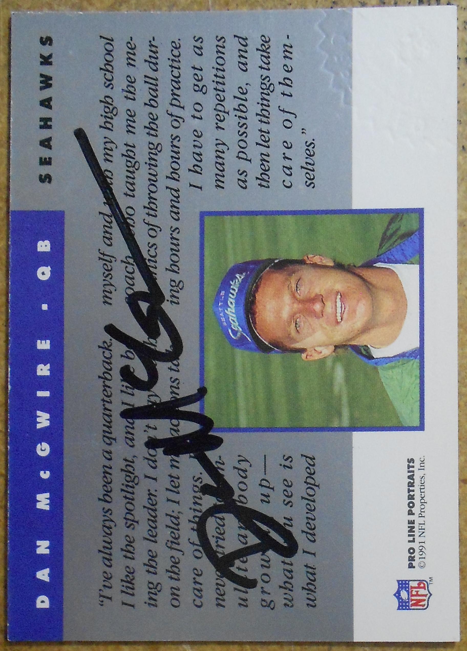 1991 Pro Line Portraits Autographs #155 Dan McGwire