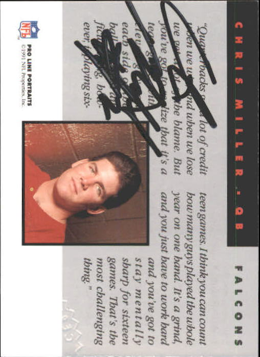 1991 Pro Line Portraits Autographs #171 Chris Miller back image
