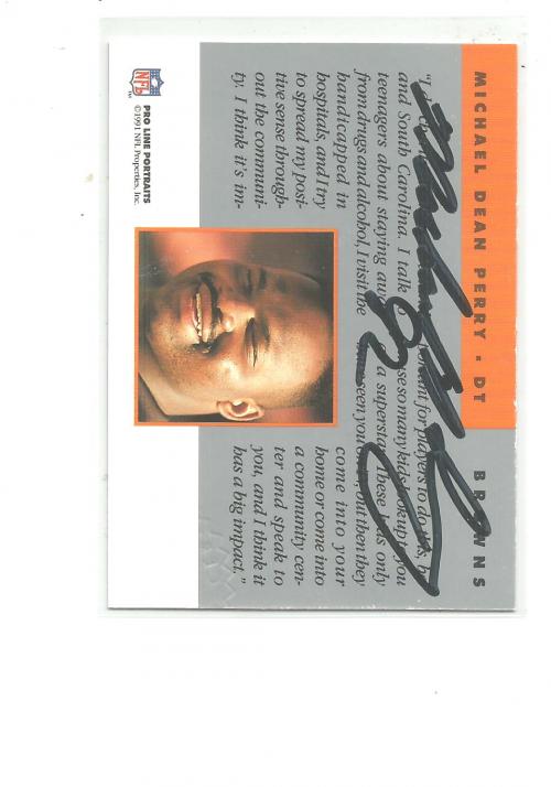 1991 Pro Line Portraits Autographs #197 Michael Dean Perry back image