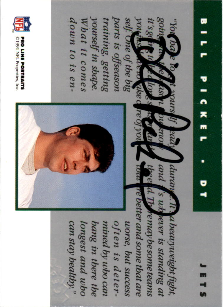 1991 Pro Line Portraits Autographs #200 Bill Pickel back image