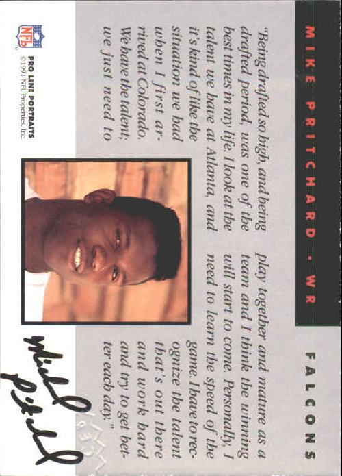 1991 Pro Line Portraits Autographs #204 Mike Pritchard back image