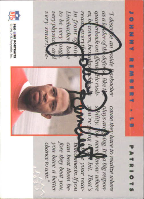 1991 Pro Line Portraits Autographs #210 Johnny Rembert back image