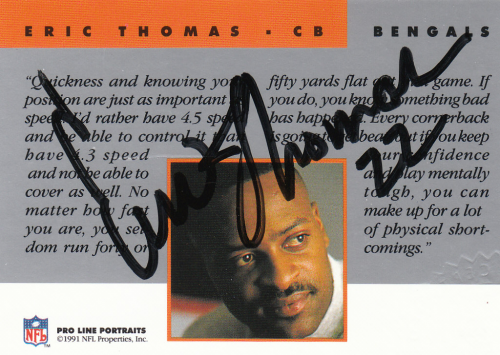 1991 Pro Line Portraits Autographs #264 Eric Thomas