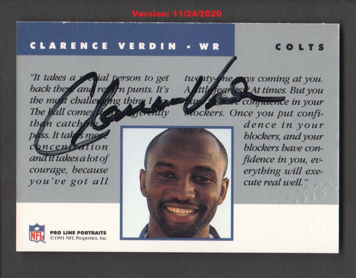 1991 Pro Line Portraits Autographs #275 Clarence Verdin back image