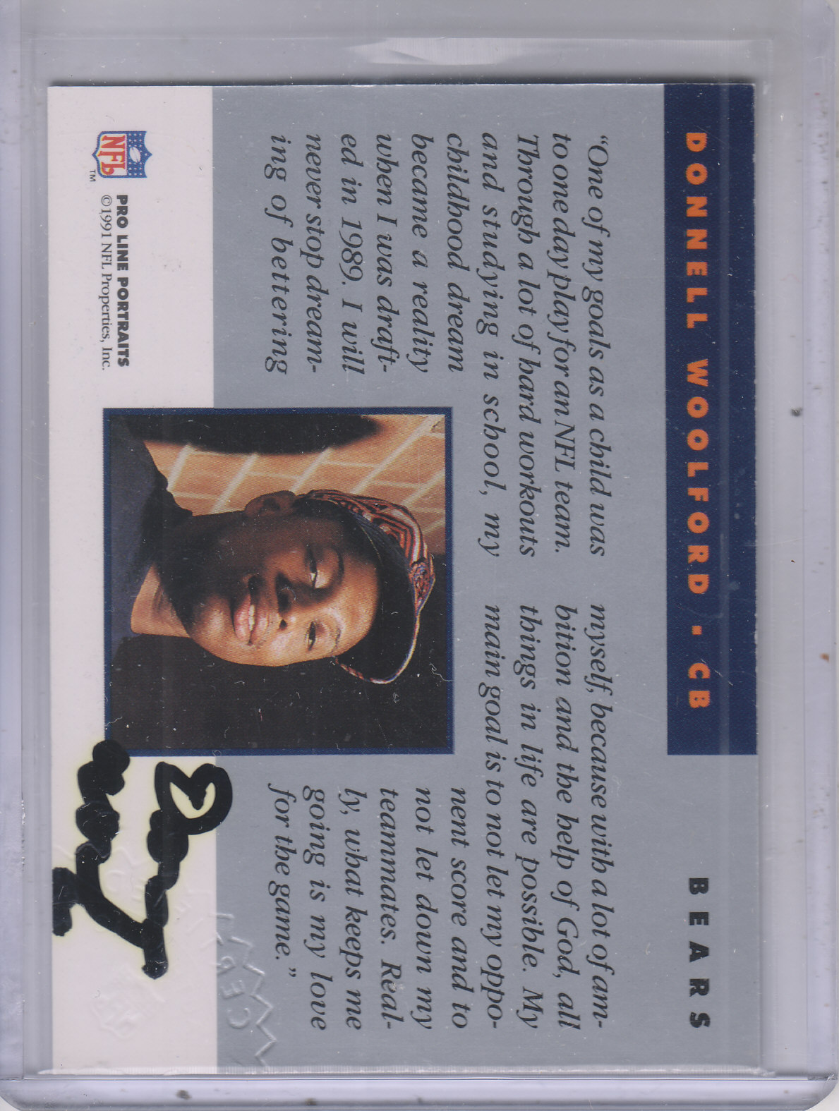 1991 Pro Line Portraits Autographs #294 Donnell Woolford back image