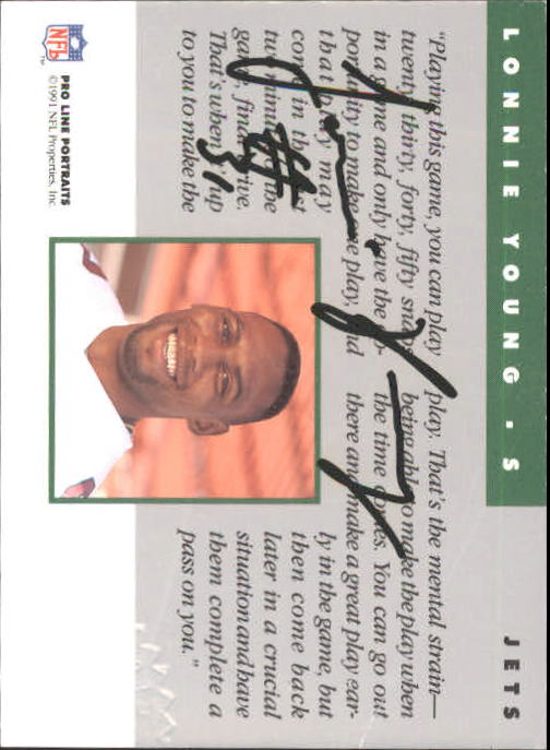 1991 Pro Line Portraits Autographs #299 Lonnie Young back image