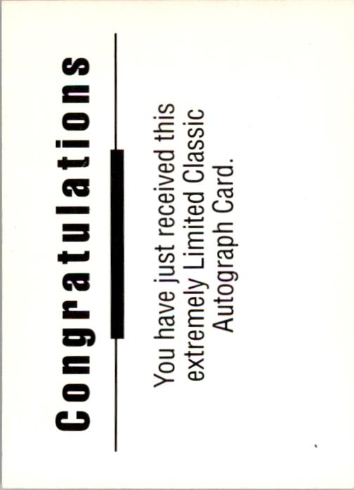 1992 Classic Autographs #6 Matt Blundin back image