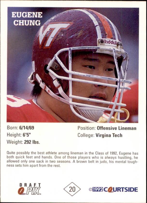 1992 Courtside Autographs #20 Eugene Chung back image