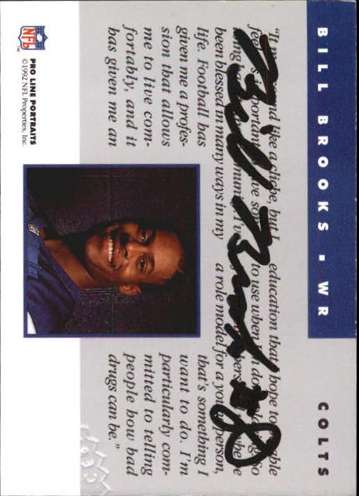 1992 Pro Line Portraits Autographs #9 Bill Brooks back image