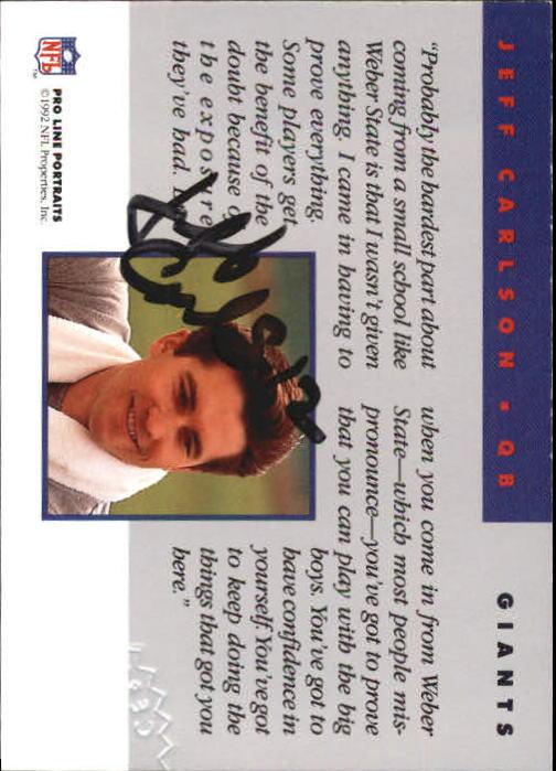 1992 Pro Line Portraits Autographs #15 Jeff Carlson back image