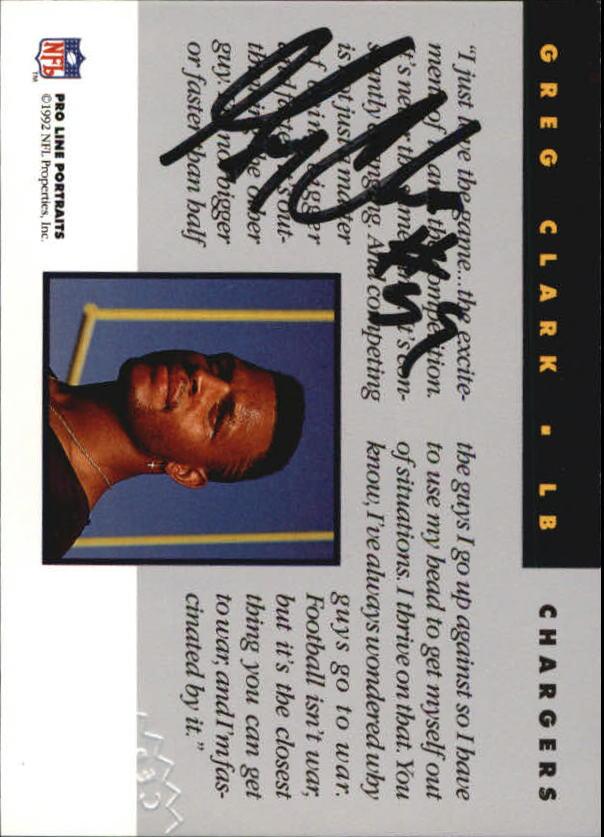 1992 Pro Line Portraits Autographs #21 Greg Clark back image