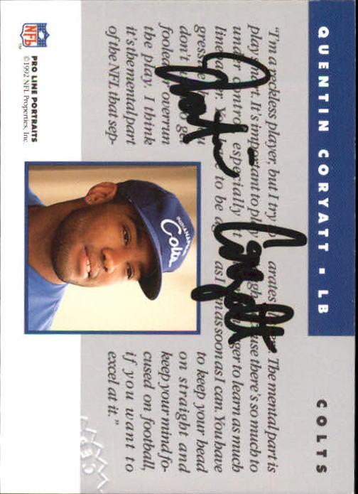 1992 Pro Line Portraits Autographs #25 Quentin Coryatt back image