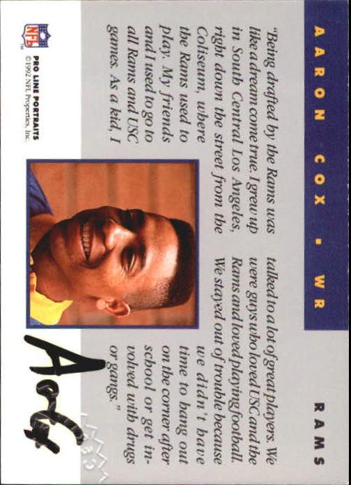 1992 Pro Line Portraits Autographs #27 Aaron Cox back image