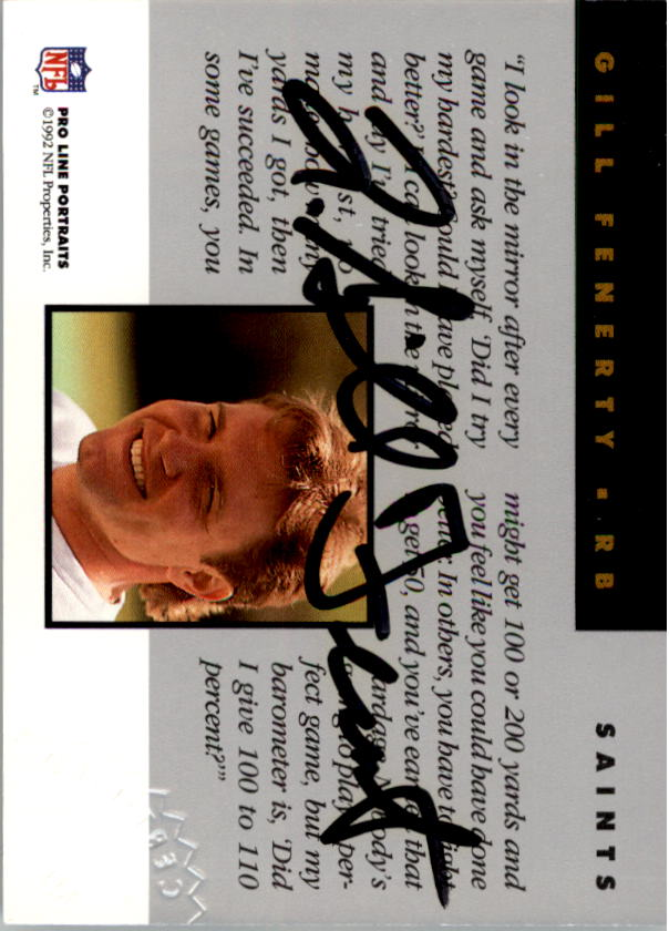 1992 Pro Line Portraits Autographs #43 Gill Fenerty back image