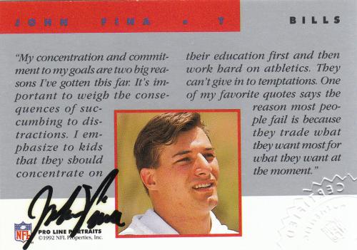 1992 Pro Line Portraits Autographs #45 John Fina
