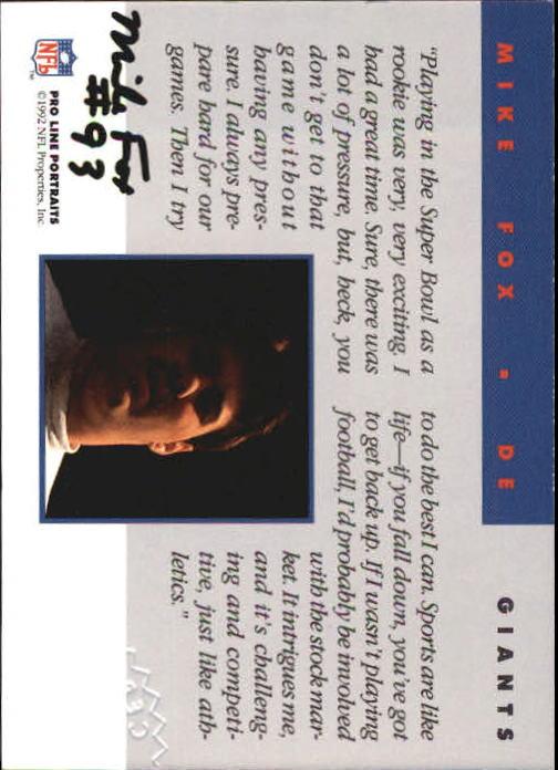 1992 Pro Line Portraits Autographs #48 Mike Fox back image