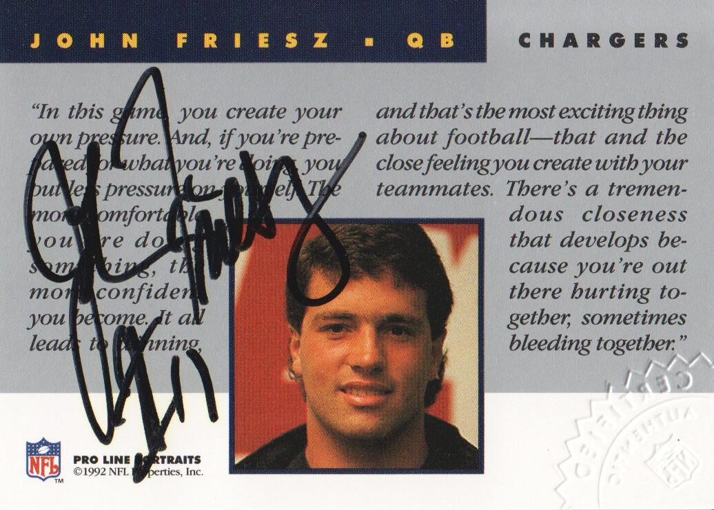 1992 Pro Line Portraits Autographs #50 John Friesz
