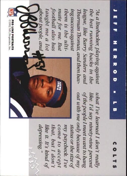 1992 Pro Line Portraits Autographs #65 Jeff Herrod back image
