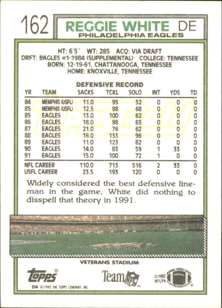 1992 Topps Gold #162 Reggie White back image