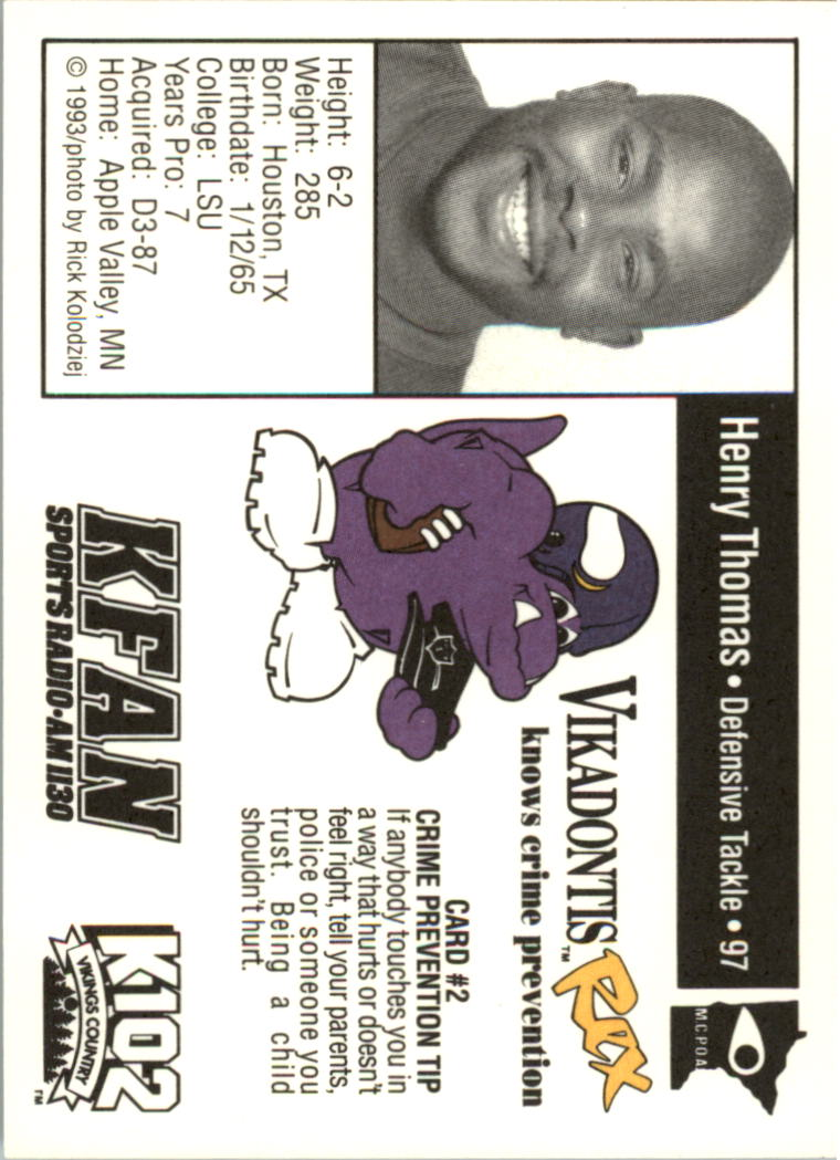 1993 Vikings Police #2 Henry Thomas back image