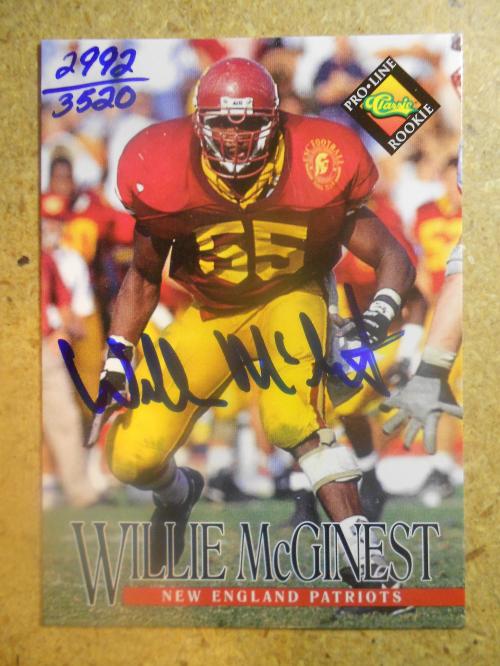 1994 Pro Line Live Autographs #86 Willie McGinest/3520