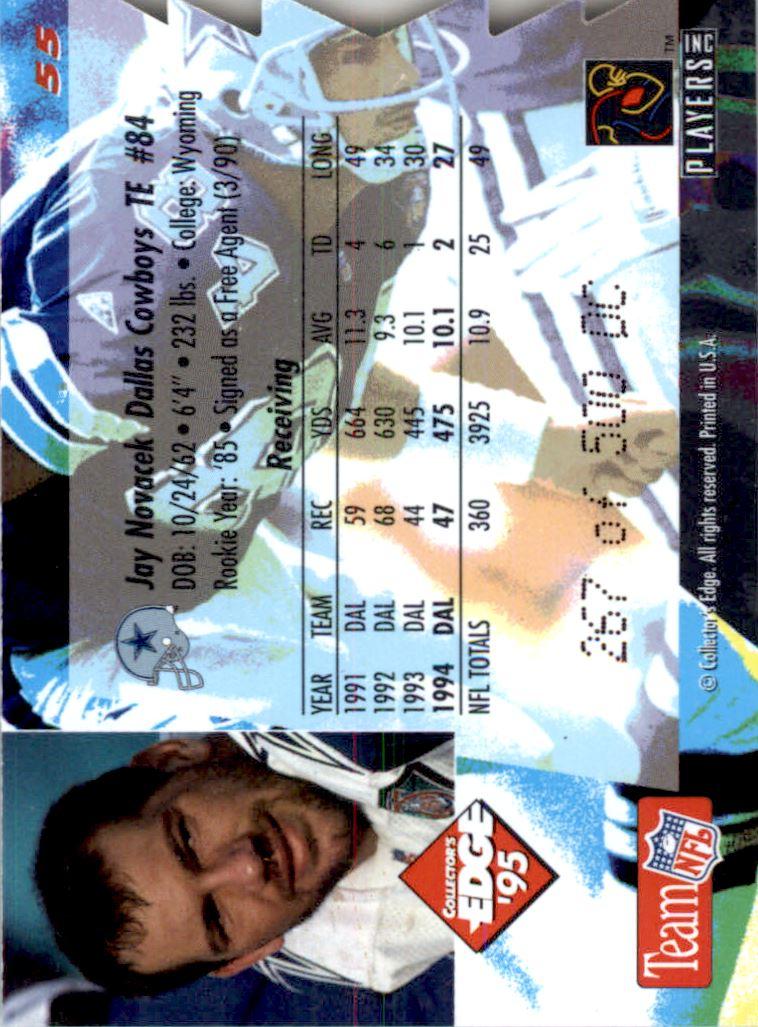 1995 Collector's Edge 22K Gold Die Cuts #55 Jay Novacek back image
