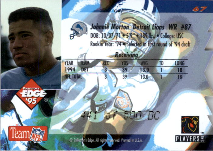 1995 Collector's Edge 22K Gold Die Cuts #67 Johnnie Morton back image