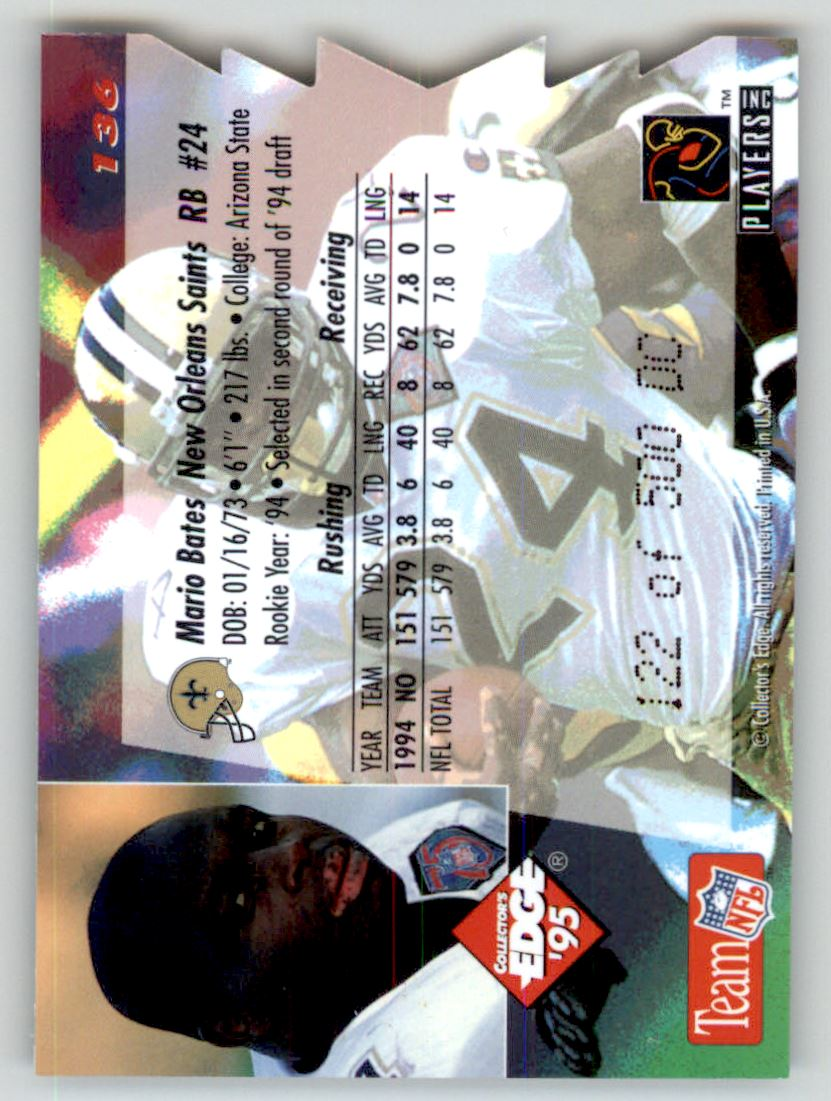 1995 Collector's Edge 22K Gold Die Cuts #136 Mario Bates back image