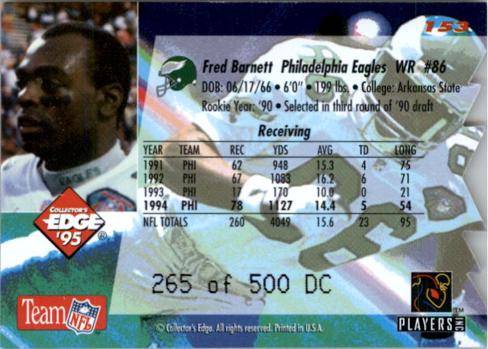 1995 Collector's Edge 22K Gold Die Cuts #153 Fred Barnett back image