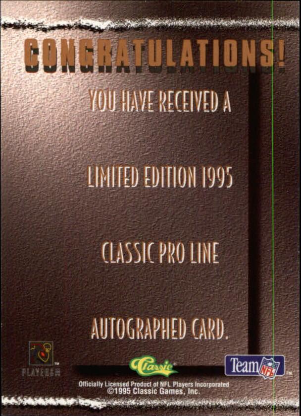 1995 Pro Line Autographs #16 Derrick Brooks/1470 back image
