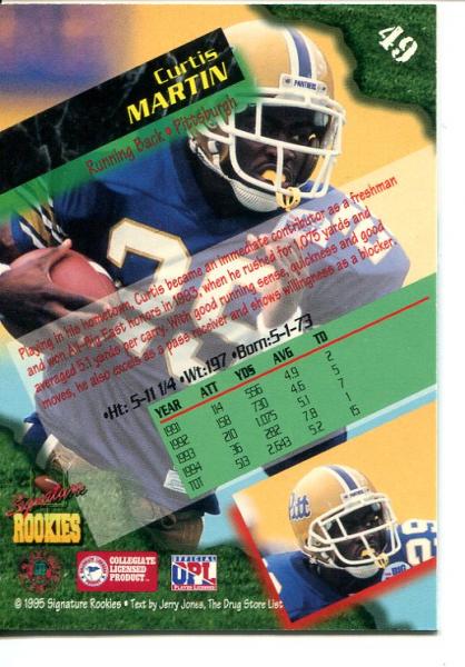 1995 Signature Rookies Autographs International #49 Curtis Martin back image