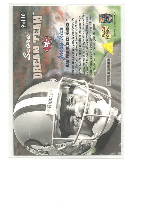 1996 Score Dream Team #9 Jerry Rice back image