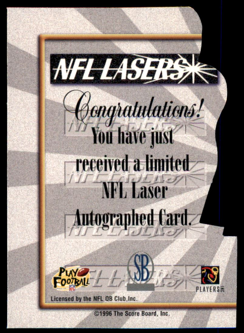 1996 Score Board Lasers Autographs Die Cuts #2 Drew Bledsoe back image