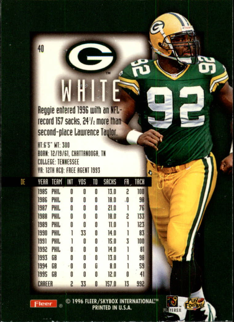 1996 Ultra Sensations Blue #40 Reggie White back image