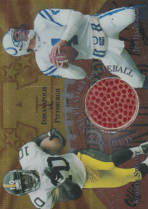 1997 Collector's Edge Masters Playoff Game Ball #4 Kordell Stewart/Jim Harbaugh