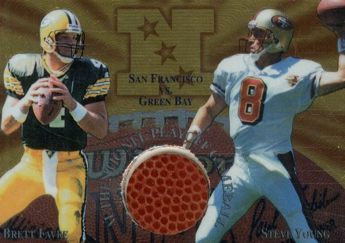 1997 Collector's Edge Masters Playoff Game Ball #14 Brett Favre/Steve Young