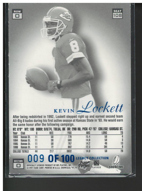 1997 Flair Showcase Legacy Collection #A108 Kevin Lockett back image