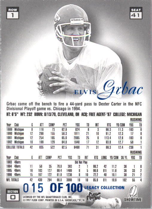 1997 Flair Showcase Legacy Collection #B41 Elvis Grbac back image