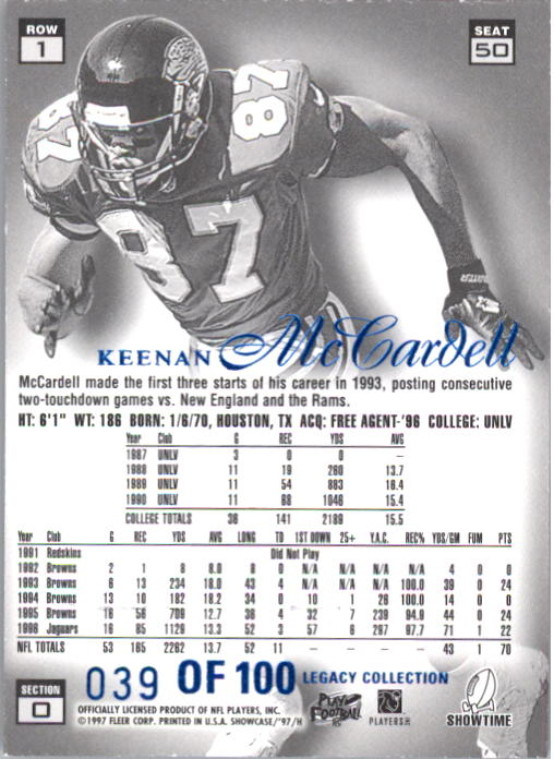 1997 Flair Showcase Legacy Collection #B50 Keenan McCardell back image