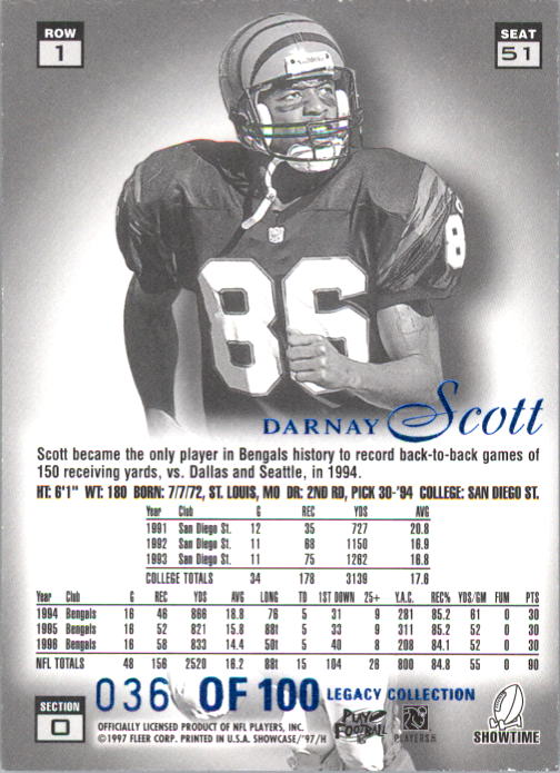 1997 Flair Showcase Legacy Collection #B51 Darnay Scott back image