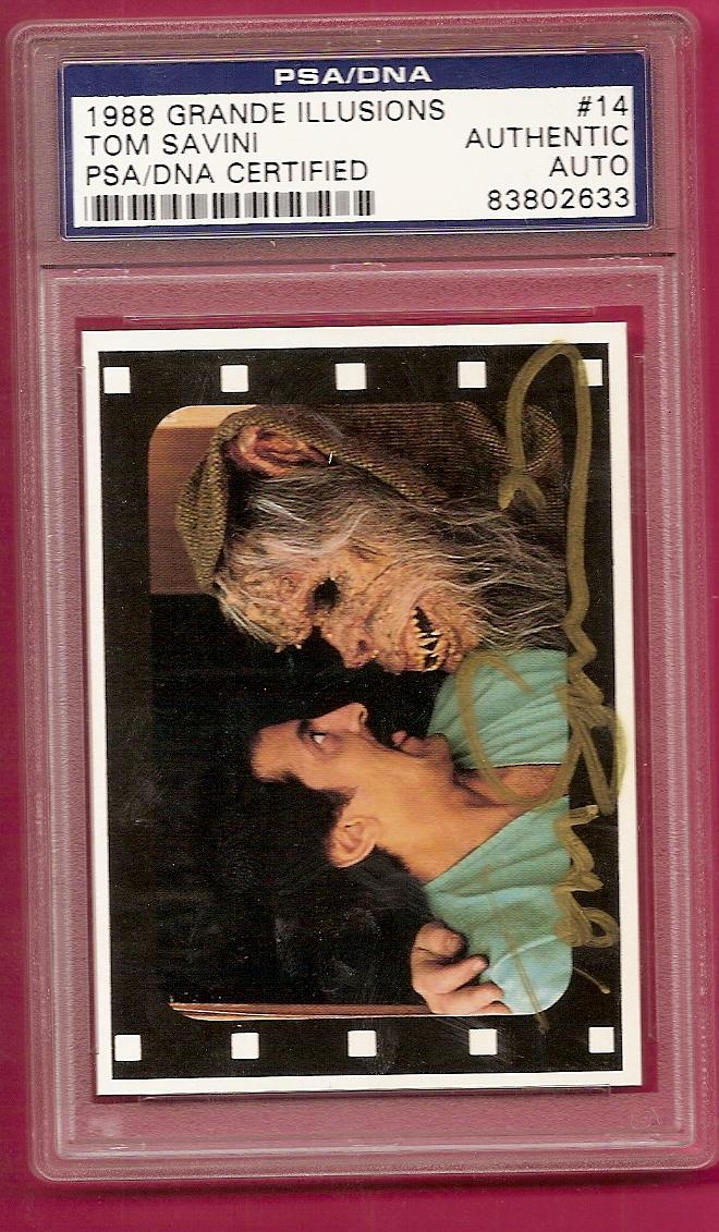 Tom Savini Autograph 1988 Grande Illusions card #14 AUTO PSA/DNA