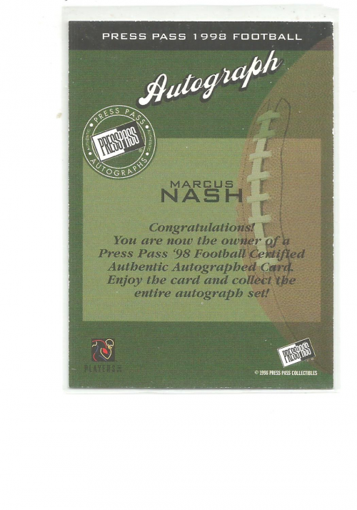 1998 Press Pass Autographs #34 Marcus Nash back image
