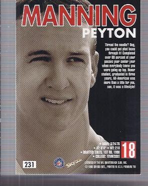 1998 SkyBox Premium #231 Peyton Manning RC back image