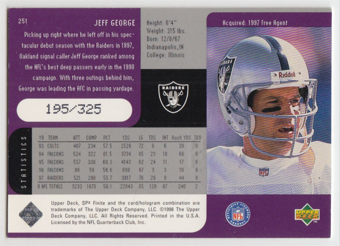 1998 SPx Finite Spectrum #251 Jeff George back image