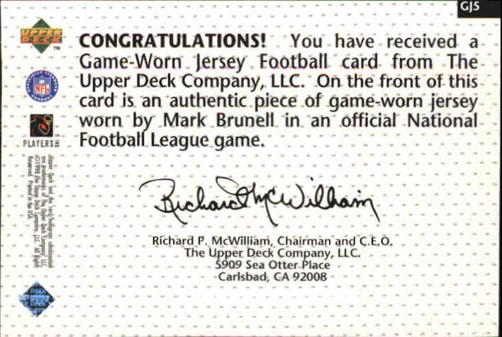 1998 Upper Deck Game Jerseys #GJ5 Mark Brunell back image
